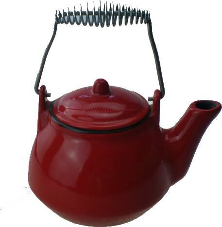 hot sale spring handle red enamel cast iron teapot/ kettle
