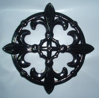 Old Dutch Jet Black Fleur De Lis Trivet, 9-Inch
