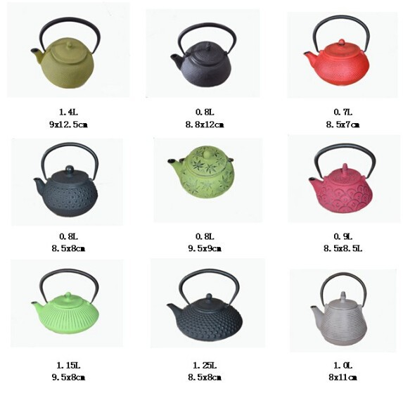 CIQ,SGS Certification and Iron Metal Type green enemal cast iron teapot