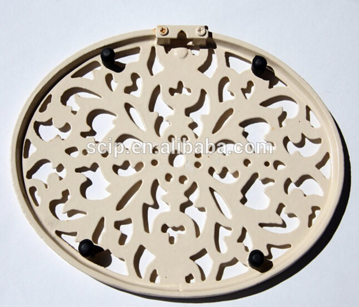 Cast Iron Trivet in Butter Cream Scroll Leaf Organic for Hot Pots Plants or Hanging on the Wall
