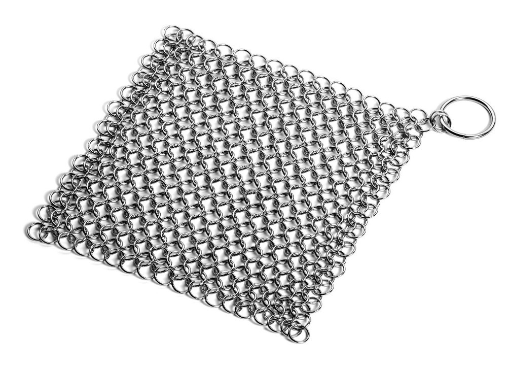 Cast iron cleaner, chainmail cast iron pan scrubber