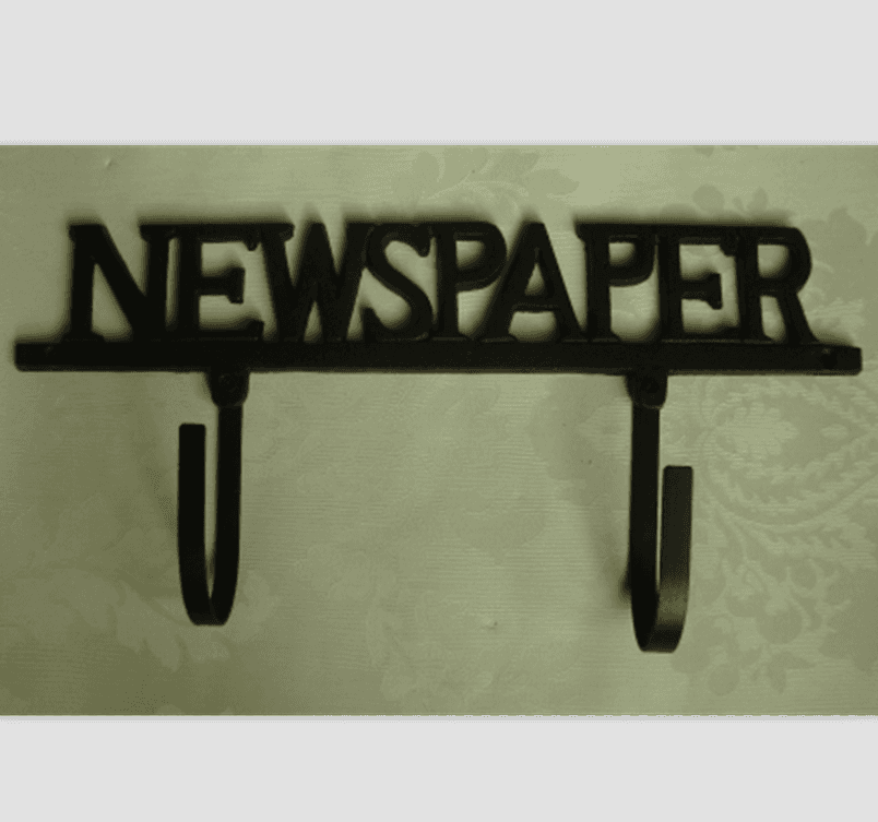 cast iron coat hook NEWSPAPER style cast iron hanger
