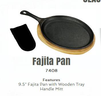 hot sale wooden tray cast iron fajita pan