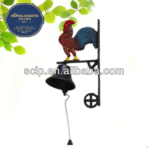 mini 13cm hand made color painting cast iron rooster dinner bell