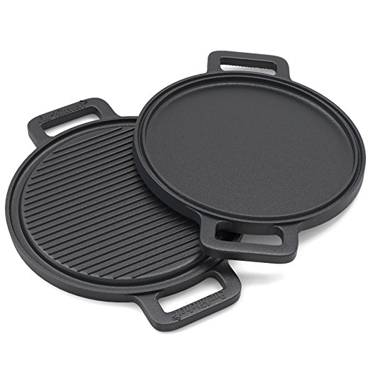 Pre-Seasoned Two-Sided Cast Iron Pizza Stone