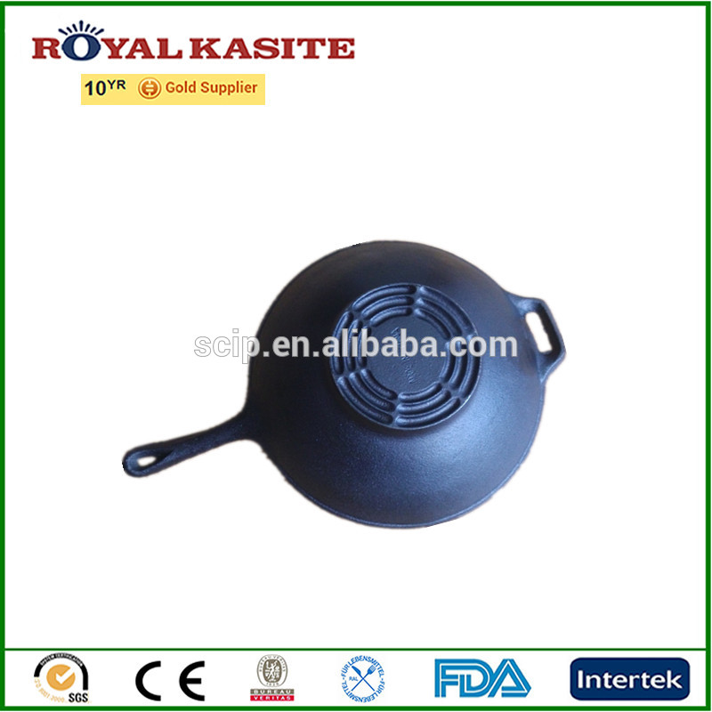 Royal Kasite Good Quality Cast Iron Wok with iron handle