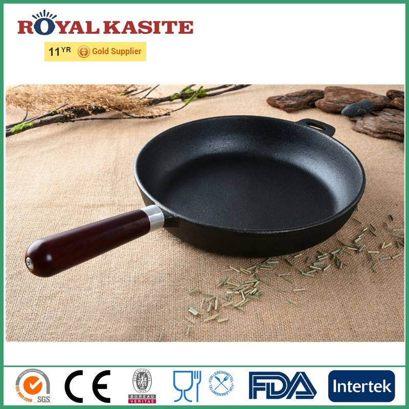 2016 New Preseasoned Cast Iron Skillet with Wooden Handle