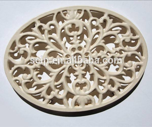 Cast Iron Trivet in Butter Cream Scroll Leaf Organic for Hot Pots Plants or Hanging on the Wall Featured Image