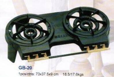 hot sale black painted cast iron gas burner with frame/two burners