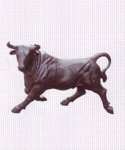 Bull Shaped Cast Iron Sculpture