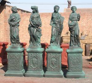Four Goddess Cast Iron Statue
