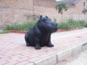 Rhinoceros Cast Iron Sculpture