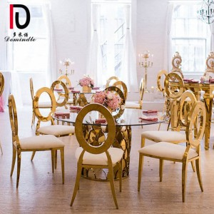PriceList for Metal Hotel Table - Glass top wedding dining table – Dominate