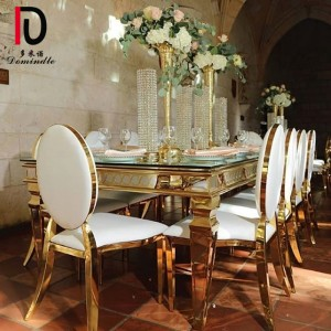 Gass top stianless steel wedding  rectangle table