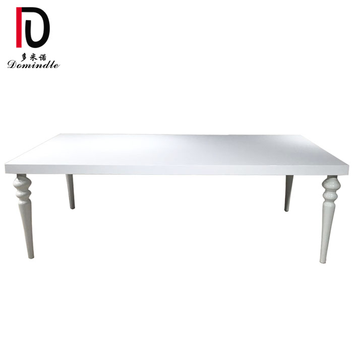 OEM China Party Mirror Glass Table - Stainless steel white wedding table – Dominate