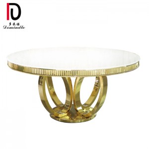 factory customized Banquet Table Stainless Steel - White glass wedding table round  – Dominate