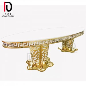 China wholesale Luxury Wedding Table - Wedding oval MDF table stanless steel – Dominate