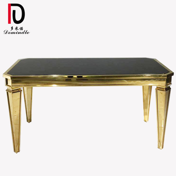 China wholesale Silver Stainless Steel Banquet Table - Sweet table black glass top for wedding – Dominate Featured Image