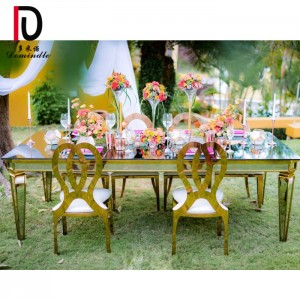 Factory Price For Luxury Gold Metal Cake Table - Gold stainless steel wedding banquet table – Dominate