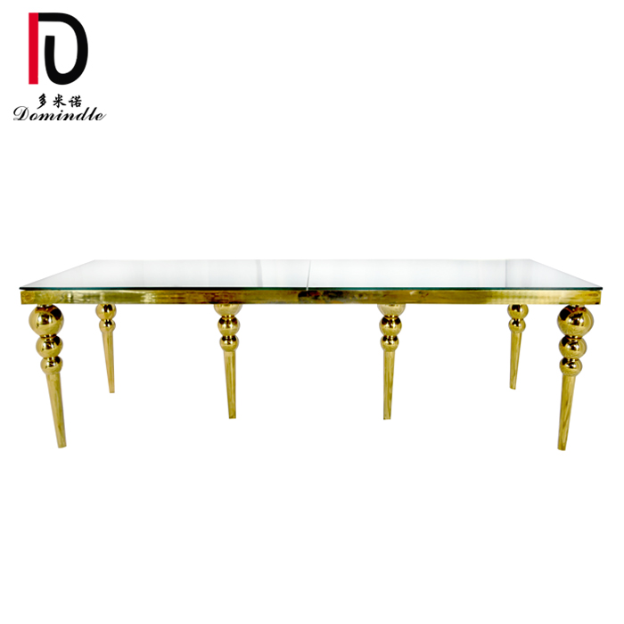 Rapid Delivery for Glass Event Table - Stainless steel gold wedding table – Dominate