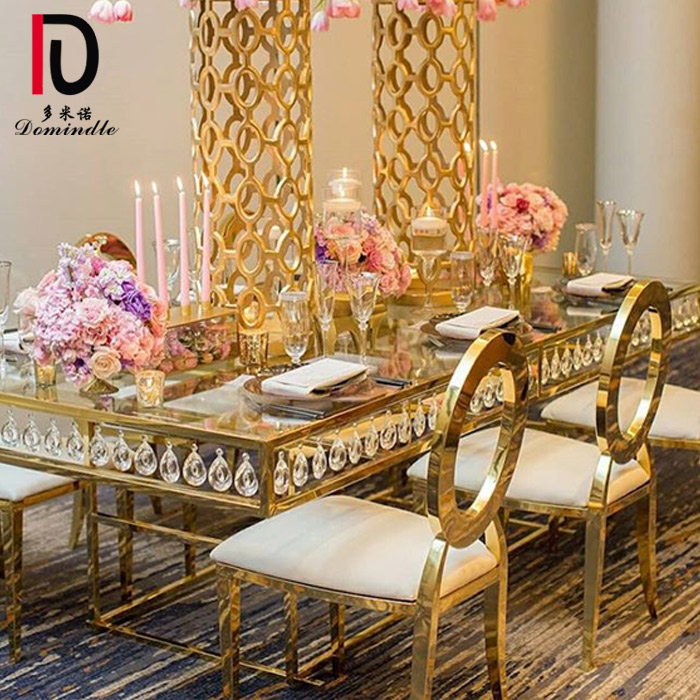 Ordinary Discount Mirror Glass Topevent Table - Stainless steel crystal wedding table – Dominate