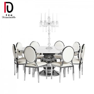 factory customized Banquet Table Stainless Steel - Round wedding mirror glass dining table – Dominate