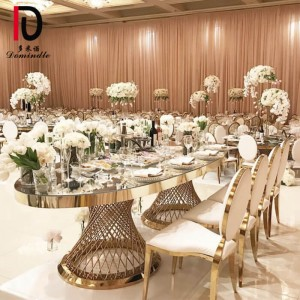 Special Price for Party Mirror Glass Top Cake Table – Stainless steel oval nest wedding table – Dominate