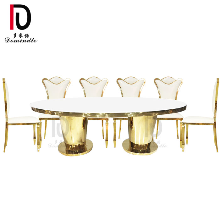 China OEM Stainless Steel Mirror Glass Table - Oval stainless steel wedding table – Dominate