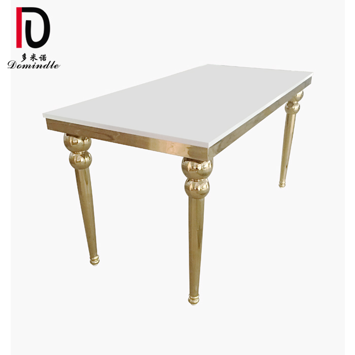 China Cheap price Hotel Table - Gold stainless steel legs wedding table – Dominate