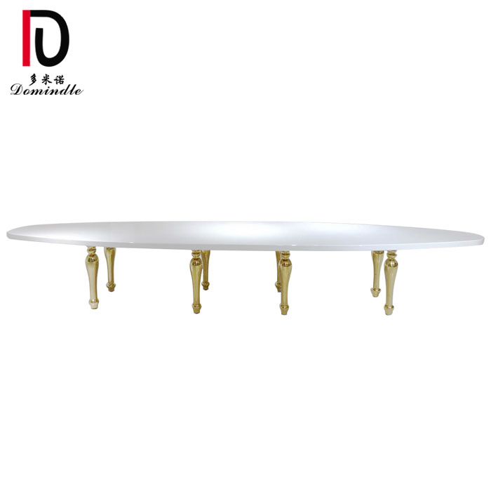 Good Quality Modern Gold Hotel Banquet Table - Event furniture oval gold wedding table – Dominate