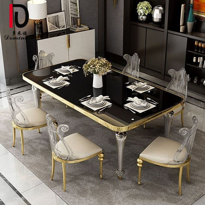 Factory Promotional Silver Banquet Table - New design dining table gold rim  – Dominate