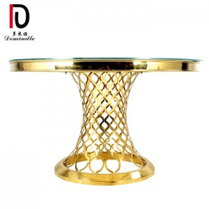Factory directly supply Banquet Table Golden - Glass table gold wedding design   – Dominate