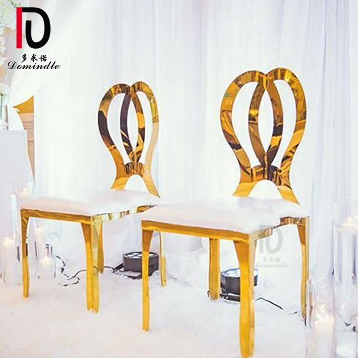 Commercial banquet dining gold stainless steel soft seat chair wedding gold