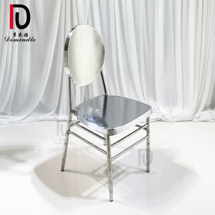 modern silver stainless steel stacking wedding dining chair for party