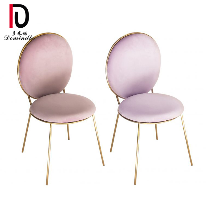 simple design gold stainless steel event round back wedding dining chair