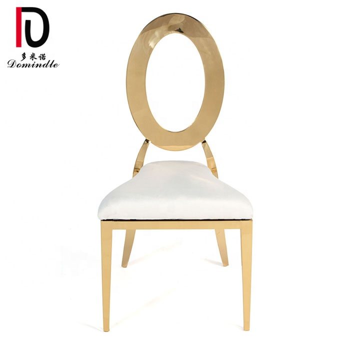French hollow back golden metal furniture wedding dining chair leather metal for sale