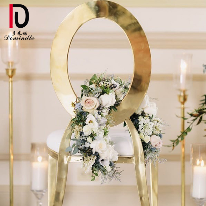 Wholesale Stacking Hotel Restaurant Dining Silver Gold  Wedding Rental Infiniti Stainless Steel Party Chair for Event Featured Image