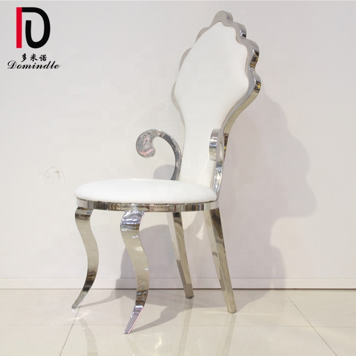 Wedding marriage silver color metal pu leather classical king throne chair Featured Image