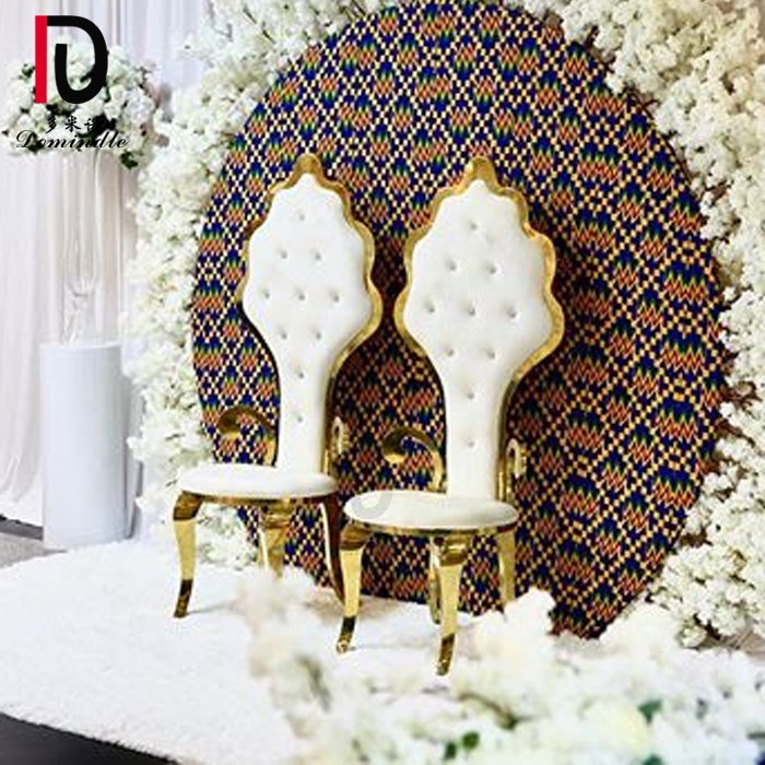 Wedding marriage silver color metal pu leather classical king throne chair