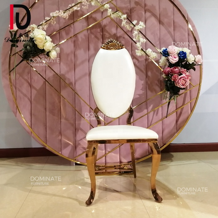 Rose gold carved design head royal event throne chairs luxury wedding king
