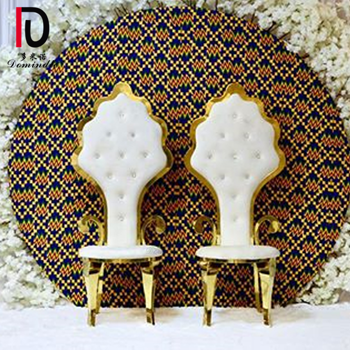 wedding banquet high back silver and gold bride and groom chair with arms