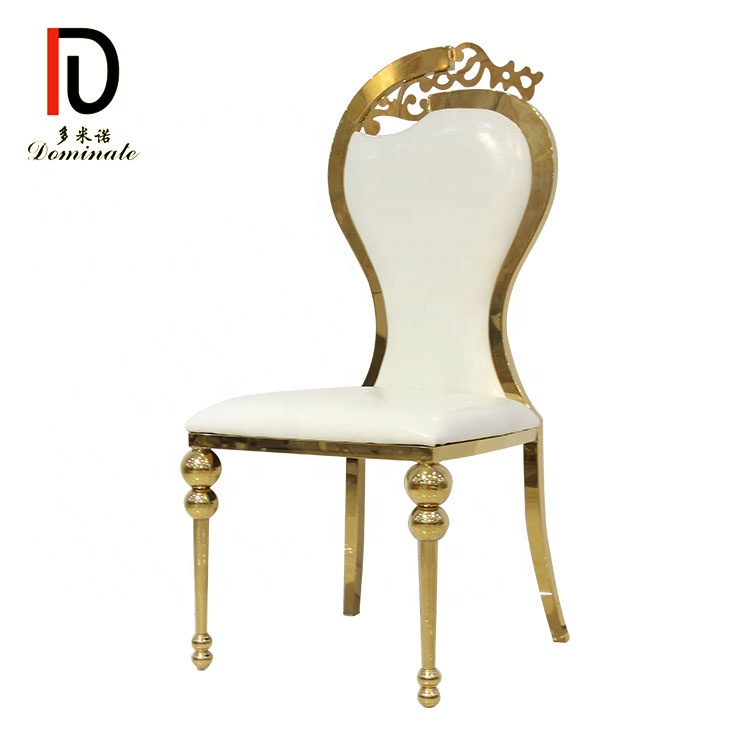 Gold metal king throne party dining high back wedding reception chair