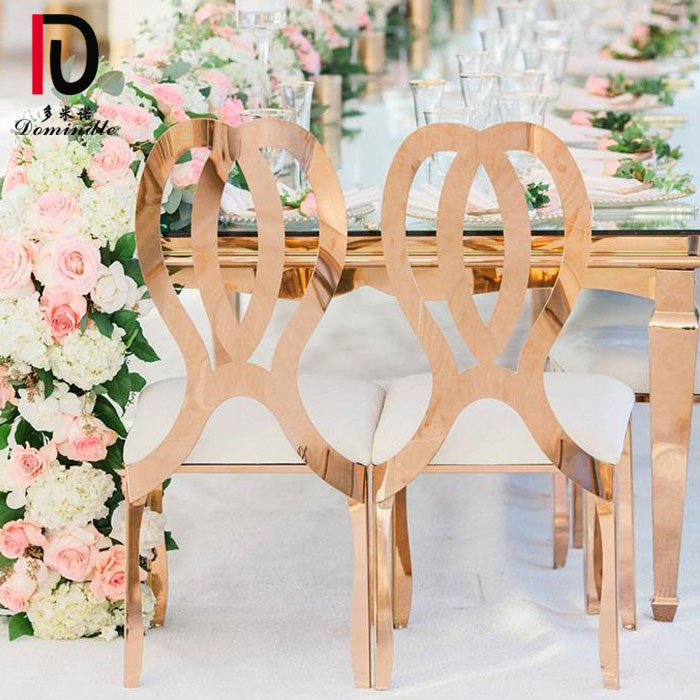 new design bow high back stainless steel gold metal wedding chair Featured Image