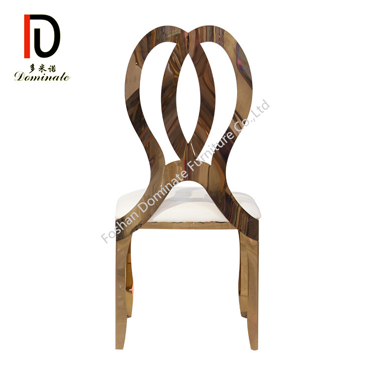 new design bow high back stainless steel gold metal wedding chair