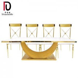 High reputation Stainless Steel Gold Glass Wedding Table - Rectangular glass top stianless steel wedding table – Dominate
