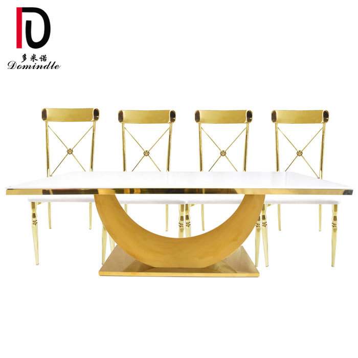 OEM manufacturer Gold Dining Table - Rectangular glass top stianless steel wedding table – Dominate