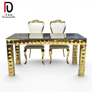 One of Hottest for Mirror Glass Cake Table - Wedding furniture gold table – Dominate