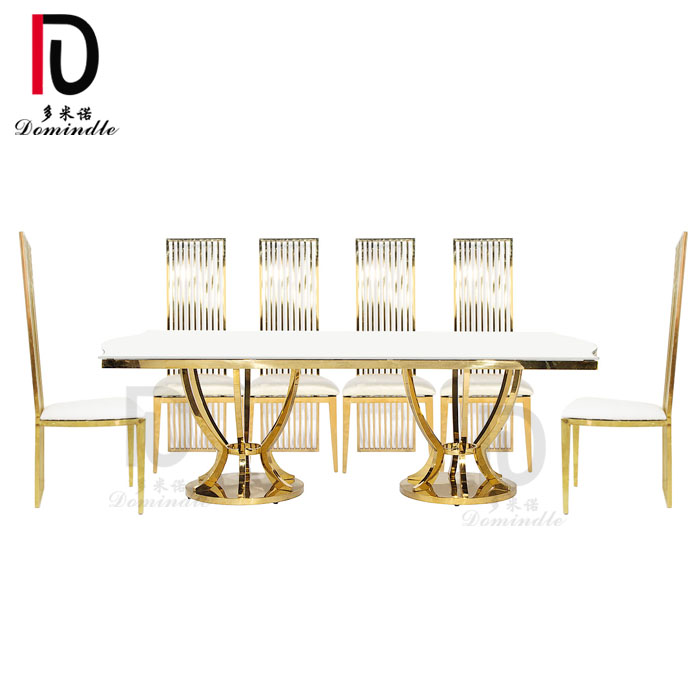 Wholesale Mirror Glass Hotel Table - New design wedding furniture dining table – Dominate