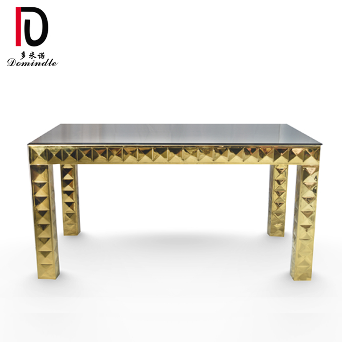 18 Years Factory Modern Wedding Stainless Steel Table - Wedding furniture gold table – Dominate
