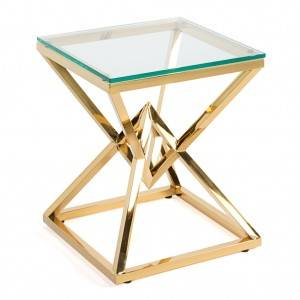 Wholesale Price Gold Metal Wedding Table - Glass Top Wedding Coffee Table  – Dominate